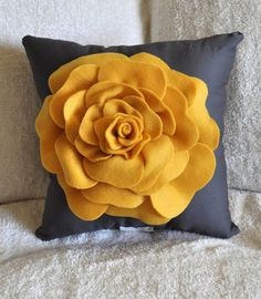 Rose Pillow Mustard Yellow on Grey 12 X 12 by bedbuggs on Etsy - this might be DIY-able Cream Pillows, Cute Pillows, Diy Pillows, Decorative Pillows, Throw Pillows, Pillow Beds, Yellow Pillows, Accent Pillows, Mellow Yellow