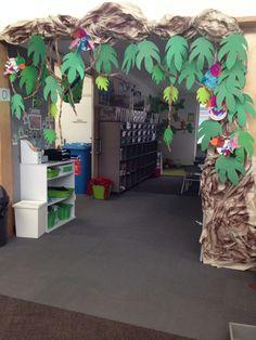 My rainforest/jungle classroom entry! My rainforest/jungle classroom entry! Preschool Classroom Setup, Dinosaur Classroom, Preschool Jungle, Jungle Theme Classroom, Classroom Themes, Jungle Theme Crafts, Rainforest Crafts, Rainforest Classroom, Rainforest Activities