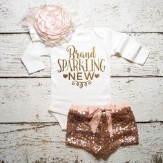 Baby Girl Coming Home Outfit Baby Girl Clothes Brand Sparkling New Bodysuit Baby Girl Newborn Shirt New Baby Shirt Birth New Baby Shower #34 by ShopVivaLaGlitter on Etsy https://www.etsy.com/listing/215930240/baby-girl-coming-home-outfit-baby-girl