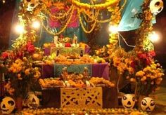 Dia De Los Muertos Altars traditional, Mexican, lights, and memories,  colorful