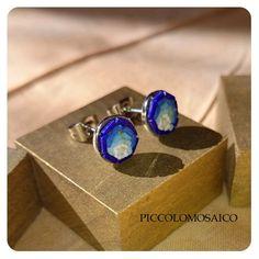 青色ピアス   Piccolo Mosaico - ミクロモザイクジュエリー  Micromosaic blue earrings - handmade
