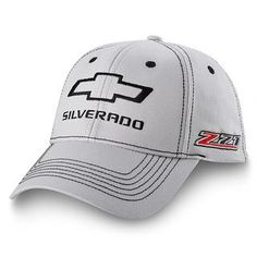 Chevrolet Silverado Z71 Light Gray Hatmade of 100% cotton twill featuring an embroidered black outline of the Chevy Bowtie and black Silverado lettering on the front crown. Six row black stitching th