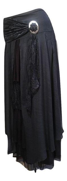Pretty Angel Size XL Dark Gray Boho Skirt Lined Sheer Ruffles Antique Buckle NWT #PrettyAngel #PeasantBoho