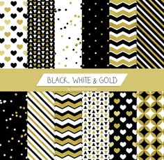 Gold digital paper party printable paper decorations new year's eve 2016 black white paper modern christmas gift wrap digital download (3.78 EUR) by GiuliaBelfioriGadget