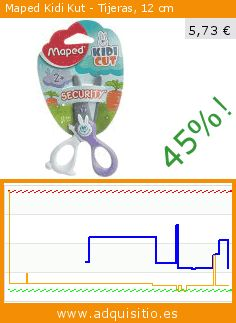 Maped Kidi Kut - Tijeras, 12 cm (Productos de oficina). Baja 45%! Precio actual 5,73 €, el precio anterior fue de 10,45 €. https://www.adquisitio.es/maped/tijeras-kidikut-12-cm
