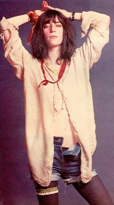 Looks like Patti Smith was wearing tights under cut-offs back in the 70's