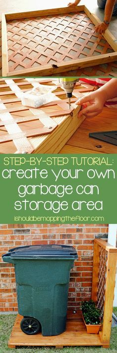 Great tutorial to create a simple garbage can storage area. Step-by-step photos and detailed instructions. Put this together in one morning....                                                                                                                                                                                 Plus
