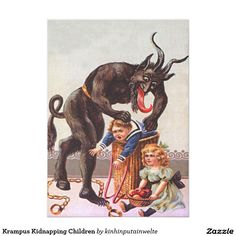 Shop Krampus Kidnapping Children Postcard created by kinhinputainwelte. Vintage Christmas Cards, Holiday Cards, Custom Posters, Vintage Posters, Merry Christmas Happy Holidays, Xmas, Christmas Print, Santa Christmas, Christmas Time