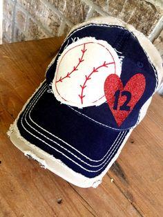 Customized Baseball Mom applique Cap, Choose your #, Fun Baseball Cap…