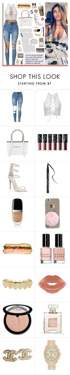 """""""usually I'm the baddest"""" by rocio-rivera ❤ liked on Polyvore featuring Balenciaga, Too Faced Cosmetics, Marc Jacobs, Bobbi Brown Cosmetics, Manic Panic NYC, NARS Cosmetics, Sephora Collection, Chanel and Saks Fifth Avenue"""