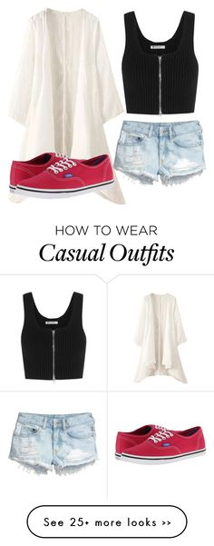 """""""outfit casual"""" by abbygirly on Polyvore featuring H&M, T By Alexander Wang and Vans"""