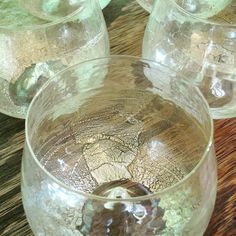 Hand blown glasses by Dan Mirer with gold and white gold leaf
