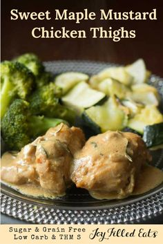 Tender chicken thighs coated in a sweet mustard sauce w/ maple & rosemary. This Sweet Maple Mustard Chicken pleased my family. Low Carb, Sugar Free, THM S, Grain Free, Gluten Free, Dairy Free, Nut Free. via @joyfilledeats