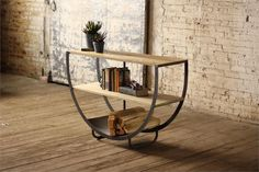 Semi Circle Console Table with Wood Shelves