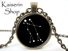 Gemini Necklace, Star Necklace, Constellation Pendant, Charm, Jewelry by KaiserinShop on Etsy