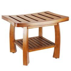 Oceanstar Design Solid Wood Spa Shower Bench with Storage Shelf & Reviews   Wayfair