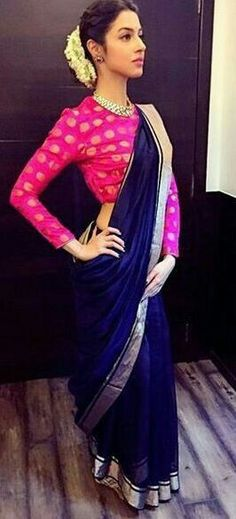 Elegant Navy Blue Chanderi Saree with Bright Pink Blouse Mehr Indian Blouse, Indian Sarees, Saree Blouse Designs, Blouse Patterns, Ethnic Fashion, Indian Fashion, Indian Dresses, Indian Outfits, Indian Engagement Outfit