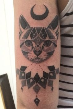 Dot work cat tattoo from http://www.pairodicetattoos.com/