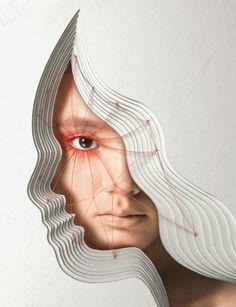 Faces surrealism portrait stitch thread repetition