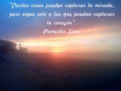 Ciertas cosas pueden capturar tu mirada, pero sigue solo a las que pueden capturar tu corazón. -Proverbio Sioux