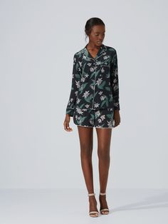 Silk Floral Button-Up in Black | Frank And Oak
