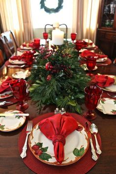 Red Color Decorations of Christmas Table Decorations Centerpiece Christmas Table Decorations Centerpiece,Christmas Table Settings Ideas, Christmas Tablescapes,Modern Christmas Tablescapes, Christmas T Christmas Dining Table, Christmas Table Settings, Holiday Tables, Thanksgiving Table, Fall Table, Indoor Christmas Decorations, Christmas Tablescapes, Christmas Centerpieces, Tree Decorations