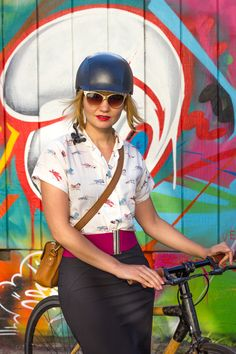 Biking in a pencil skirt!
