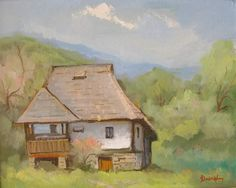 Andrei Branisteanu  - Casa Veche Olteneasca Watercolor Sketch, Sketching, Cabin, House Styles, Painting, Home Decor, Art, Paisajes, Art Background
