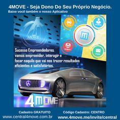 A 4MOVE é uma empresa especializada no segmento de Tecnologia e Mobilidade URBANA  Já iniciamos o cadastro na 4MOVE. PARA AFILIADO, MOTORISTAS, TAXISTAS E PASSAGEIROS.  Não perca TEMPO e faça logo o seu cadastro pois é gratuito.  www.4move.me/invite/central  www.central4move.com.br
