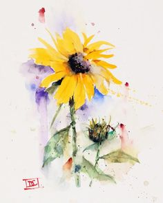 """""""SUNFLOWER & BUD"""" flower art from an original watercolor painting by Dean Crouser. Available in a variety of products including signed and numbered limited edition prints, ceramic tiles, greeting cards and more! Cherry Blossom Watercolor, Watercolor Fish, Watercolor Sunflower, Watercolor Cards, Watercolor Landscape, Watercolor Flowers, Watercolor Paintings, Sunflower Paintings, Koi Painting"""