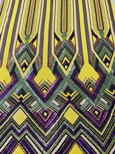 Triangle Multi Color Sequins - Purple Yellow Green - 4 Way Stretch Chevron Sequins Fabric By Yard Sequin Fabric, Mesh Fabric, Damask Decor, Fabric Roses, Beaded Bracelet Patterns, Triangle Pattern, Craft Materials, Pink Candy, Fashion Fabric