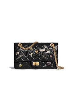 5f26b06a52cd 2.55 Handbag, aged calfskin, charms & gold-tone metal, black - CHANEL