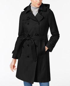 London Fog Hooded Belted Trench Coat | macys.com