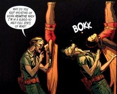 Damian head butting the Joker, because lets face it, the new 52 Joker needs head butted in the face and then some...
