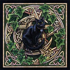 Cat Pentagram Cross Stitch Pattern - Festooned with emerald green ivy leaves and gems, this lavishly embellished moon and pentagram make the perfect backdrop for a golden-eyed familiar. Based on artwork by Lisa Parker. This is a very detailed pattern, measuring 350 stitches wide by 349 stitches tall.