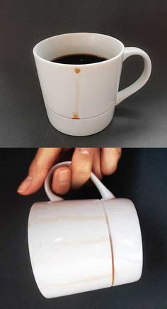 Drop Rest Mug by Yanko Design - stop drips ruining your wooden table ------------------------------------ 3B - 1113086 추연우 : 컵 아래부분의 작은 틈이 마시고 난 뒤 가끔 흐르는 한방울의 커피를 막아줘 손에 커피가 묻는 것을 방지해준다. 기능적인 요소만 들어갔는데 하나 사고 싶은 생각이 드는 디자인이다.