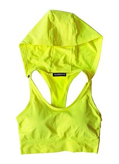 Runner Island Womens Neon Yellow Sports Bra Hoodie High Impact Running No Bounce Compression Padded Racerback Strappy Yellow Sports Bras, Women's Sports Bras, Fitness Gifts, Health Fitness, Marathon Running, Track And Field, Cropped Tank Top, Sports Women, Neon Yellow