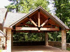 Timber Frame Carport Ideas - Home & Kitchen Carport Plans, Carport Garage, Pergola Carport, Pergola Kits, Gazebo, Carport Designs, Pole Barn Homes, Log Homes, Exterior Design
