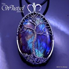 Sterling Silver Labradorite Tree of Life Pendant - Handmade - Wire Wrapped Jewelry