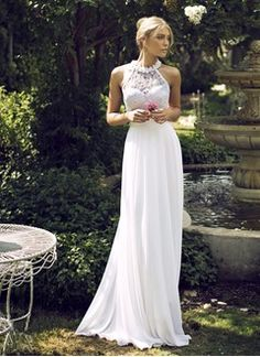 Empire-Linie U-Ausschnitt Bodenlang Chiffon Brautkleid mit Perlen verziert Applikationen Spitze Blumen (00205003574)