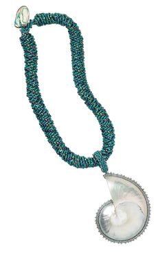 Single-Strand Necklace with Seed Beads and Nautilus Shell Focal Component - Fire Mountain Gems and Beads