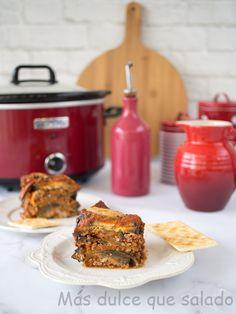 Más dulce que salado: Lasaña de berenjenas en Crock-Pot Queso Fundido, Poke Bowl, Empanadas, Quinoa, Crock Pot, French Toast, Pizza, Breakfast, Food