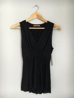 VELVET By Graham & Spencer Sleeveless Gauzy V-Neck Blouse Tank Top Black S $99 #VelvetbyGrahamSpencer #Blouse #EveningOccasion