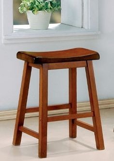 Coaster Counter Height Stools, Oak Finish, 24-Inch Height, Set of 2