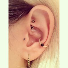 rook piercing, tragus piercing, conch piercing