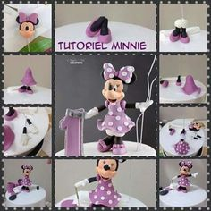 Disney Cakes Part 4 – Mickey and the Gang Cakes Minni Mouse Cake, Minnie Mouse Cake Topper, Minnie Mouse Birthday Cakes, Minnie Cake, Fondant Figures Tutorial, Cake Topper Tutorial, Fondant Toppers, Sugar Animal, Theme Mickey