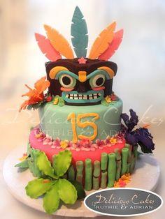 Hawaiian Luau Cake - by DeliciousCakes @ CakesDecor.com - cake decorating website
