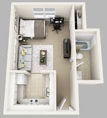 3d floor plan image 0 for the studio floor plan 400 sqft. Black Bedroom Furniture Sets. Home Design Ideas