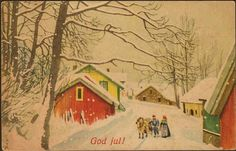 Julekort Nielsen, Erl. Hest/hus. No.Arbeide. Stemplet 1944.