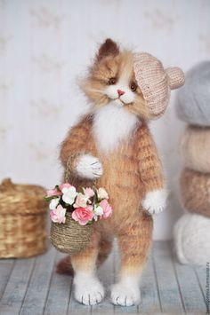 Knitted toy Cat / Купить Кошка с ЛУКОШКОМ Вязаная игрушка - кошка, кошечки, кот, котик, котенок, коты и кошки